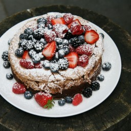 Chocolate Meringue Cake with Fresh Berries.