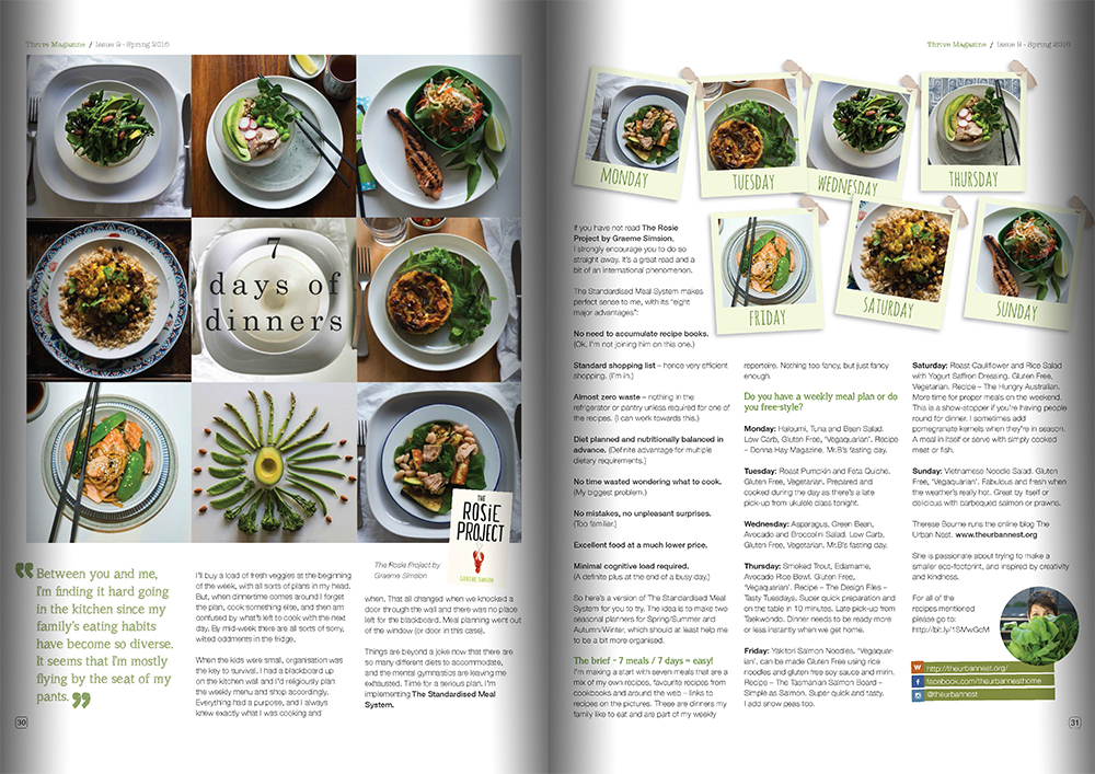 Thrive magazine 7 Days of Dinners