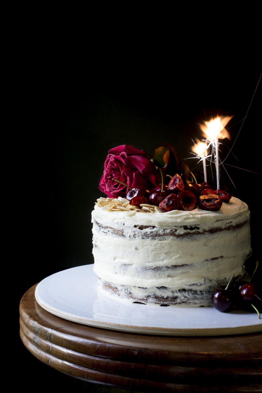 Sweet sixteen Almond and Cherry Layer Cake